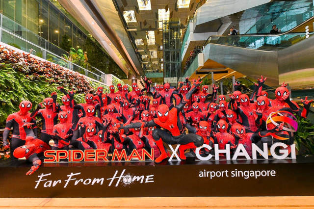 spiderman far from home changi airport
