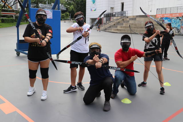 Outdoor activities like archery tag is part of the esports camp