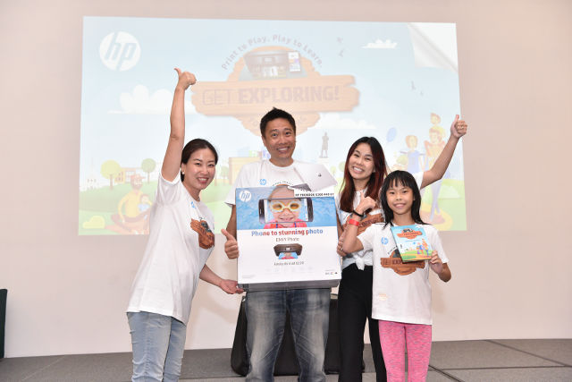 Mrs Anne Seow and family first prize at HP Adventure Trails