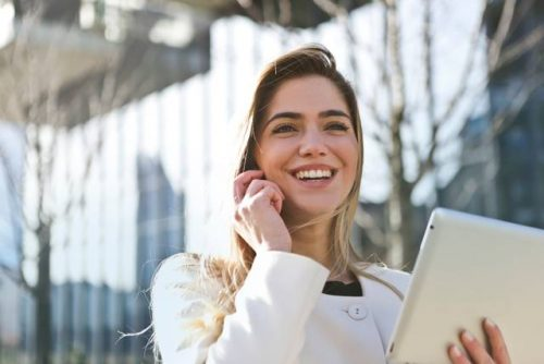 Business woman smiling with confidence