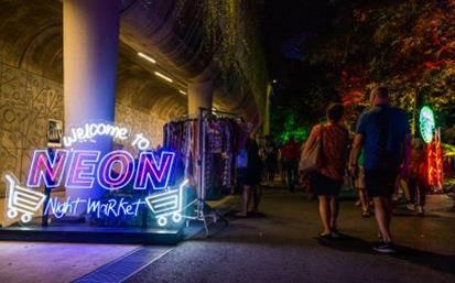 neon night market at gbtb