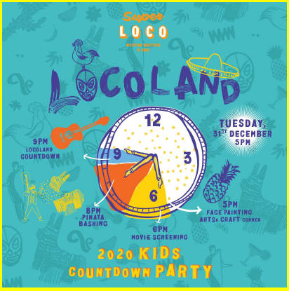 Locomo New Years Eve kids countdown fiesta
