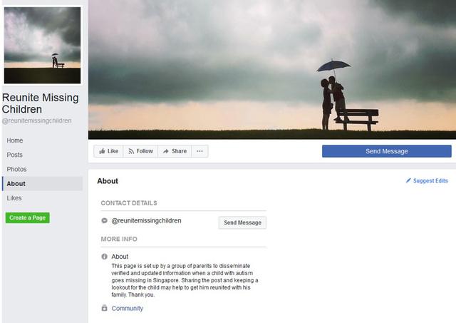 Reunite Missing Children Facebook page
