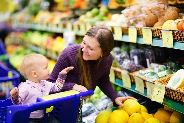 Grocery shopping with children