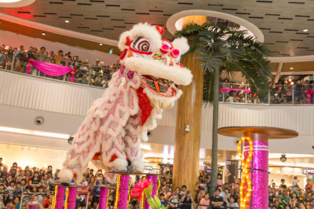 lion dance at malls of frasers property