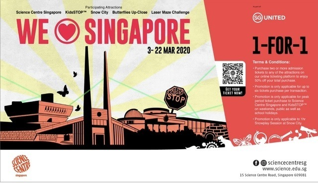 Science Centre Singapore 1 for 1 promotion 2020