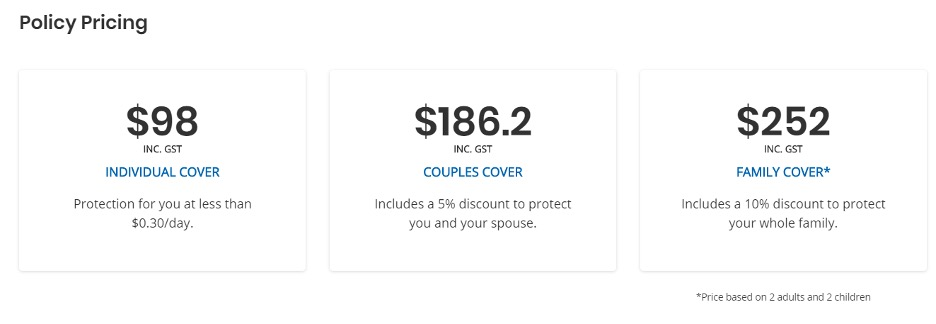 SingSaver Insurance Policy pricing