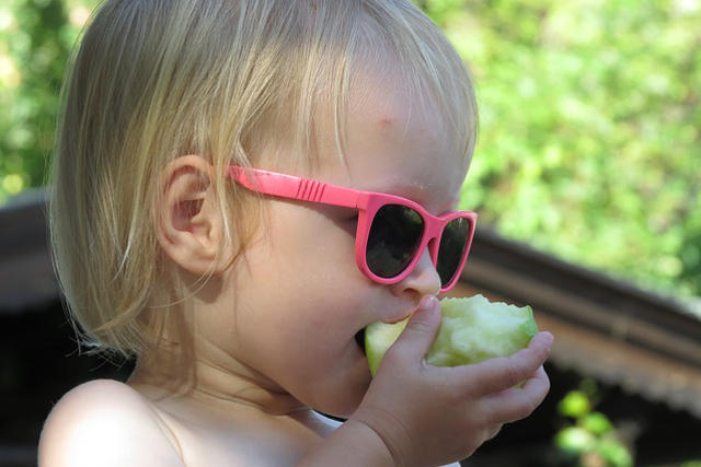 child girl wearing sunglasses