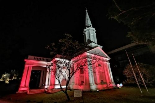 Cathedral of the Good Shepherd light up