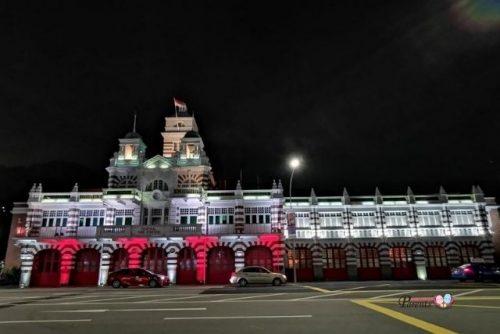Central Fire Station light up