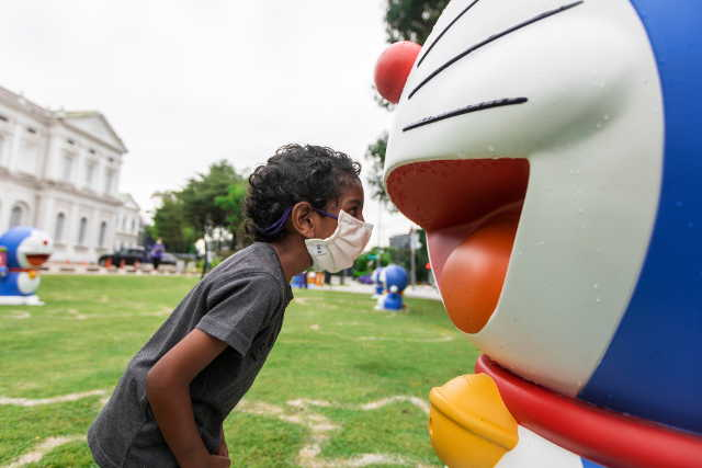 Doraemon on the Front Lawn of the National Museum of Singapore