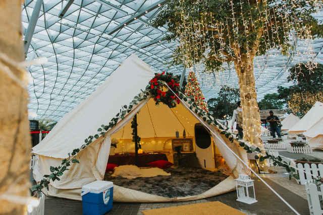 Glamp tents at Jewel Changi Airport Cloud9 Piazza