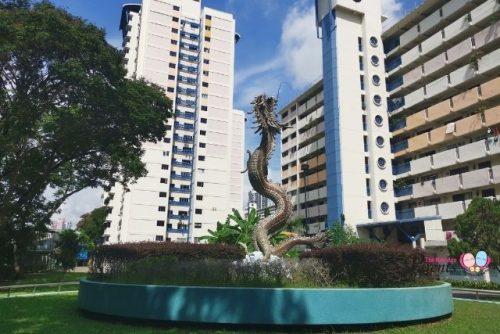 whampoa dragon fountain and statue