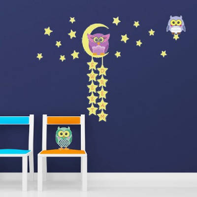Walplus Owl Moon Star Glow In The Dark Wall Decals