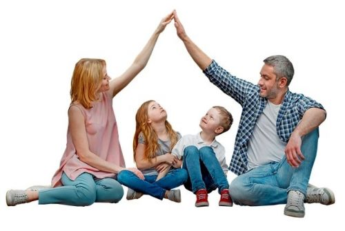 family speaking young children