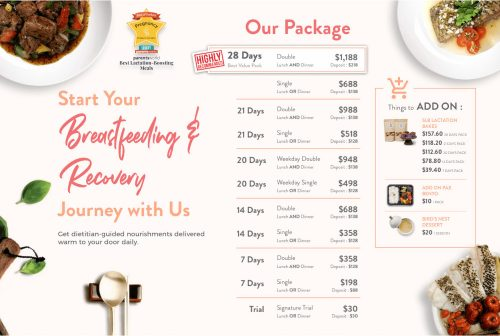 Relacto Lactation meal delivery booking slot